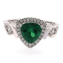 Emerald Stone Silver Ring Trillion Cut Emerald