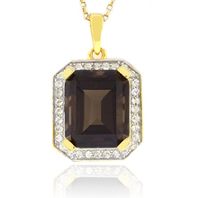 Emerald Cut Big Smoked Topaz Sterling Silver Pendant