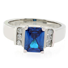 Emerald Cut Sterling Silver Blue Topaz Ring