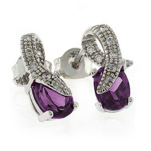 Pink to Purple Color Change Post Back Silver Earrings