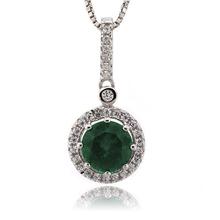 Round Cut Emerald Gemstone Silver Pendant