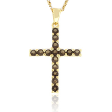 Authentic Smoked Topaz Sterling Silver Cross Pendant