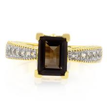 Smoky Topaz Emerald Cut Gemstone Sterling Silver Ring