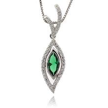 Emerald Gemstone Silver Pendant