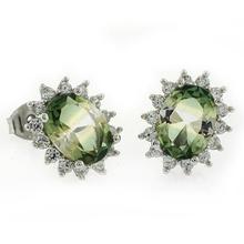 Oval Cut Tourmaline Stud Silver Earrings