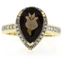 Pear Cut Smoky Topaz Sterling Silver Ring