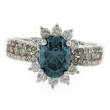 Oval Cut Alexandrite Silver Ring