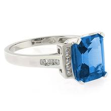 Emerald Cut Blue Topaz Silver Ring