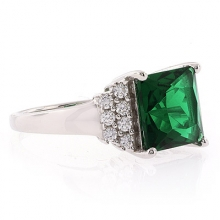 Big Emerald Princess Silver Ring