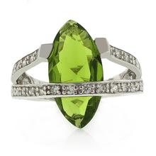 Marquise Cut Peridot Silver Big Heavy Ring