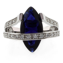 Marquise Cut Sapphire Silver Big Heavy Ring