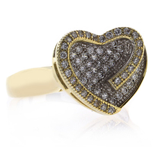 Gold Plated Sterling Silver Heart Shape Micro Pave Ring