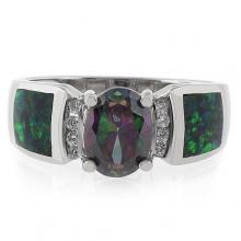 Amazing Mystic Topaz Australian Opal Silver Ring
