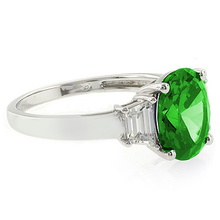 Peridot Sterling Silver Oval Cut Gemstone Ring