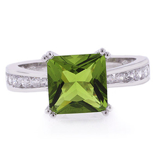 Peridot Engagement Sterling Silver Ring