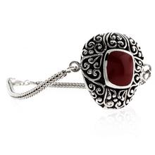 Antique Red Coral Sterling Silver Bracelet