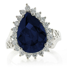 Sterling Silver Sapphire Pear Cut Ring