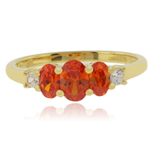 3 Stone Fire Cherry Opal 14k Gold Plated Ring