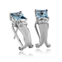 Princess Cut Aquamarine Silver Earrings