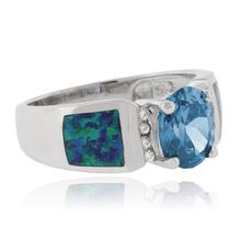 Blue Australian Opal Ring with Blue Topaz