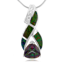Australian Opal And Topaz Silver Pendant