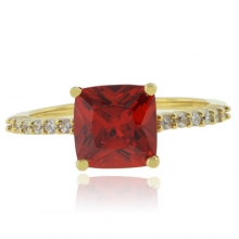 Mexican Fire Opal Promise Silver Gold Plated Ring