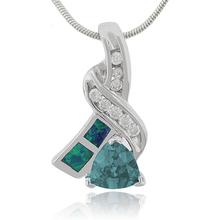 Australian Opal Pendant with Trillion Cut Alexandrite