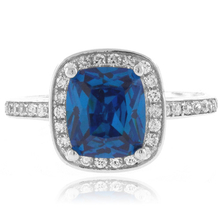 Cushion Cut Blue Topaz Sterling Silver Ring