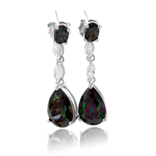 Drop Shape Mystic Topaz Silver Earrings