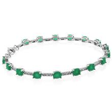Emerald Oval Cut Sterling Silver Bracelet