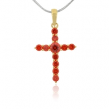Silver Fire Opal Cross Gold Plated Pendant