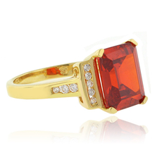 Fire Cherry Opal Emerald Cut Stone Gold Plated Ring