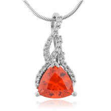 Fire Opal Sterling Silver Necklace