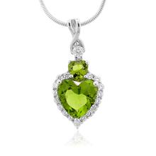 Heart Cut Peridot Silver Pendant