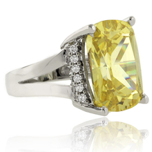 Huge Radiant Cut Citrine Silver Ring