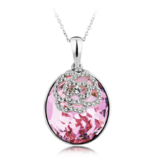 Lavender Swarovski Elements 18K White Gold Plated Necklace
