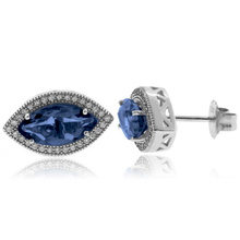 Marquise Cut Alexandrite Silver Earrings