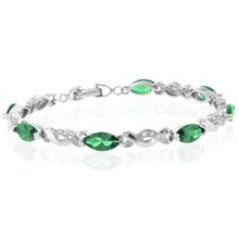 Marquise Cut Emerald Silver Bracelet