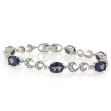 Oval Cut Alexandrite Bracelet Blue to Purple Color Change Silver