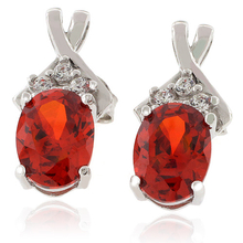 Oval Cut Mexican Cherry Opal Silver Earrings