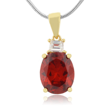 Fire Opal Oval Cut Stone Sterling Silver Gold Plated Pendant