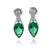 Pear Cut Emerald Silver Earrings