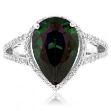Pear Cut Rainbow Mystic Topaz Silver Ring