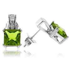 Princess Cut Peridot Sterling Silver Earrings
