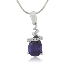 Drop Shape Sapphire Sterling Silver Necklace