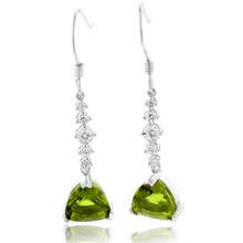 Silver Drop Earrings Trillion Cut Peridot