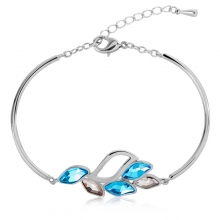 Swarovski Elements 18K White Gold Plated Blue Leaf Bracelet