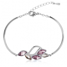 Swarovski Elements 18K White Gold Plated Rose Leaf Bracelet