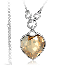 Swarovski Elements Gorgeous Amber Heart Gold Plated Necklace