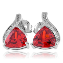 Trillion Cut Fire Opal Sterling Silver Earrings
